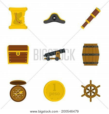 Pirates adventure icon set. Flat set of 9 pirates adventure vector icons for web isolated on white background