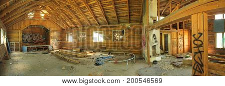 STOELLET SWEDEN - JUN 19 2017 : Ruined interior of an Ordenshus (lit. Orders house a meeting place of Swedish temperance societies) from the 19th century..