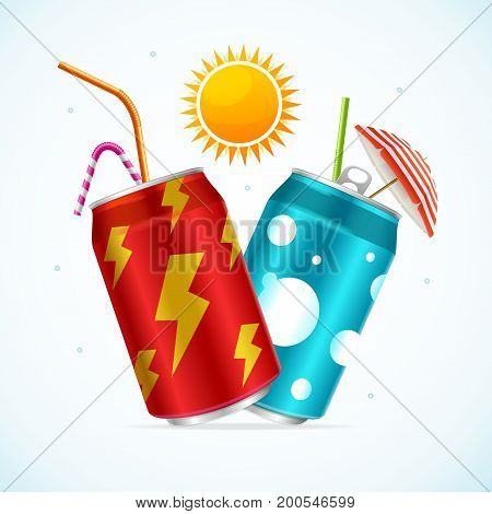 Realistic Steel Can Set Soft Drink with Umbrella and a Straw Concept Of Summer Beach Cocktail Bar Vector illustration of two cans view
