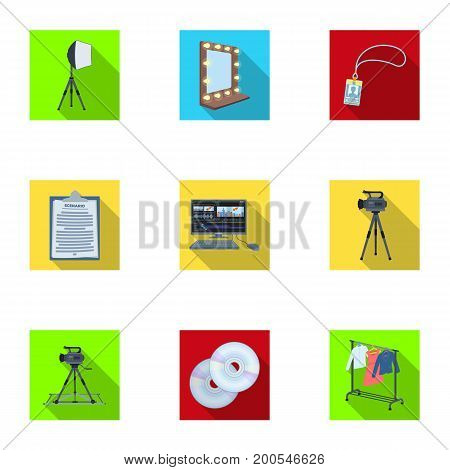 A movie camera, a floodlight, a chromakey and other equipment for the cinema.Making movie set collection icons in flat style vector symbol stock illustration .