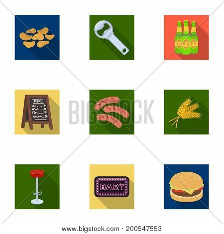A chair, a beer, a sign, items for a pub.Pub set collection icons in flat style vector symbol stock illustration .