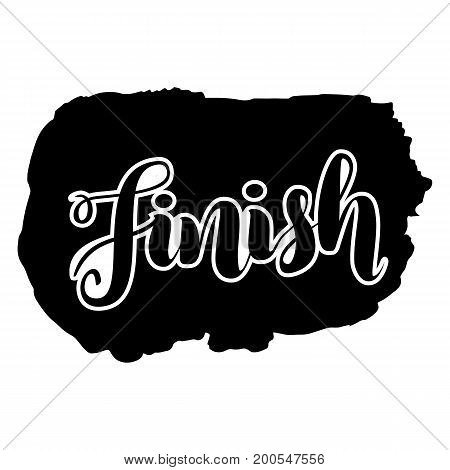 Finish lettering word logo, black white, vector illustration