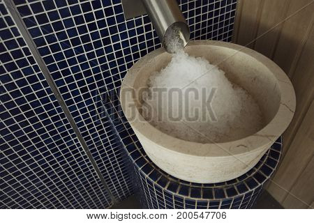 Picture of bowl full of ice cubes in sauna