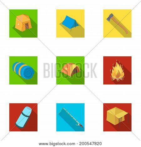 Various kinds of tents and other tourist accessories. The tent set collection icons in flat style vector symbol stock illustration .