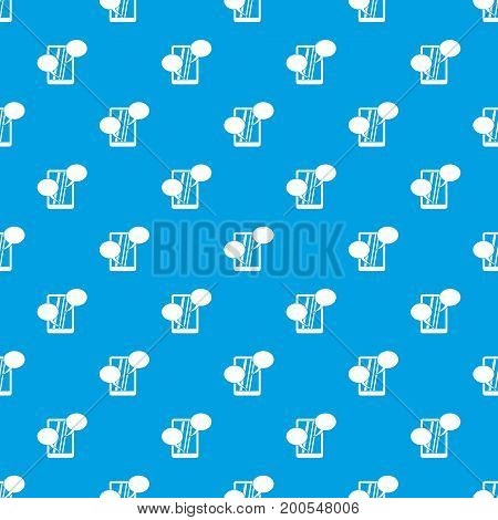 Speech bubble on phone pattern repeat seamless in blue color for any design. Vector geometric illustration