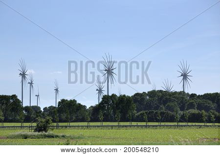 Wind Power Stations In Mecklenburg-vorpommern, Germany, With Special Image Processing To Emphasize M