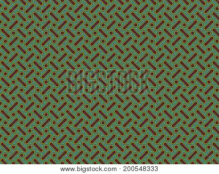 Abstract multicolored illustration. Strips and dots on a green background. Seamless pattern. Computer generated