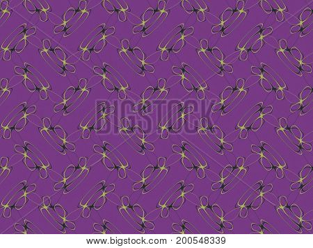 Abstract multicolored illustration. Yellow pattern on a violet background. Seamless pattern. Mosaic background texture. Computer generated