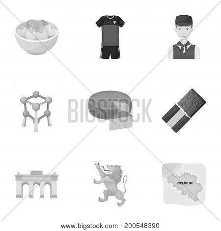 National, flag, clothing and other Belgium attributes .Belgium set collection icons in monochrome style vector symbol stock illustration.