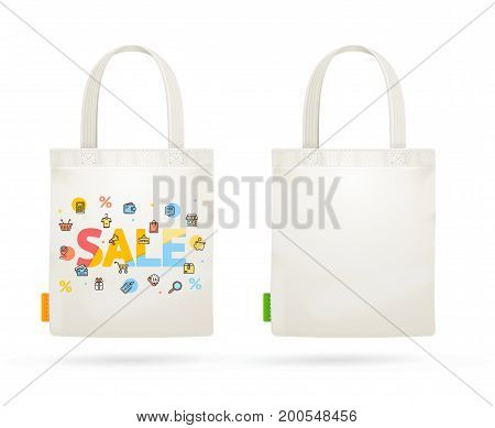 Fabric Cloth Bag Tote for Sale Concept Seasonal Discount Percentage Element Ecology Marketing. Vector illustration of two bags