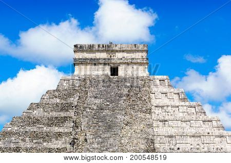 Maya Pyramid Chichen-Itza Mexico Close up view