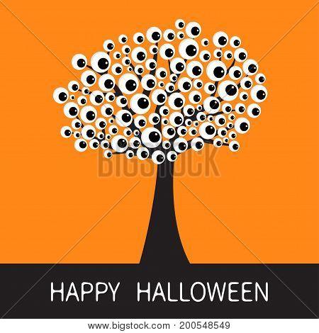 Happy Halloween card. Black tree silhouette Branch with eyes. Cartoon eyeball. Spooky apple of eye set. Baby illustration collection. Flat design. Orange background. Vector illustration