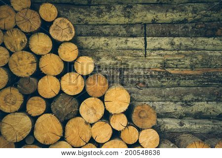 old wooden lag texture background with empty space