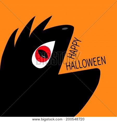 Monster reptile head silhouette with red devil eye. Cute cartoon funny character. Black color. Baby collection. Happy Halloween text. Greeting card. Flat design. Orange background Vector