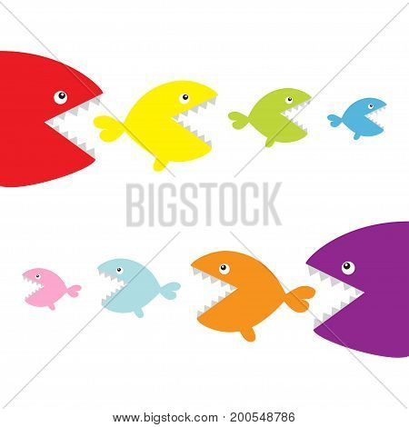 Fish set eating each other. food chain. Cute cartoon colorful character. Baby kids collection. White background. Isolated. Flat design. Vector illustration