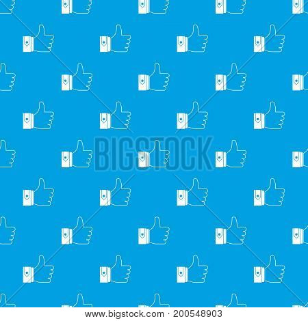 Thumbs up pattern repeat seamless in blue color for any design. Vector geometric illustration