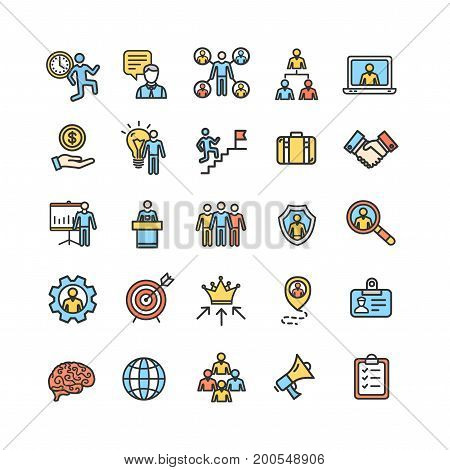 Management Business Color Thin Line Icon Set . Vector illustration of Corporate Leadership and Partnership