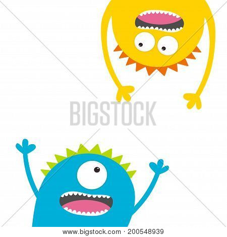 Screaming monster set. Head silhouette. Two eyes teeth tongue hands. Hanging upside down. Funny Cute cartoon character Baby collection. Happy Halloween. Flat design. White background Vector