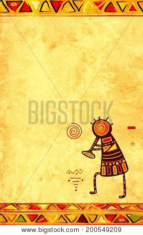 Dancing musician. Grunge background with African traditional patterns and paper texture of yellow color. Copy space for your text