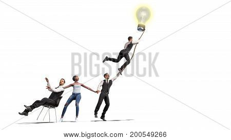 Concept Of A Successful Team Idea A Light Bulb That Pulls People Up 3D Render On White