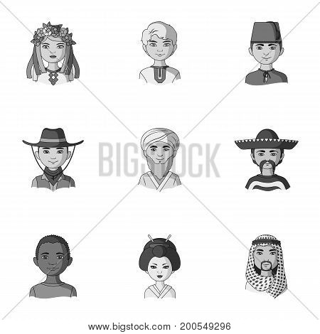 Chinese, russian, american, arab, indian, turk and other races. The human race set collection icons in monochrome style vector symbol stock illustration .