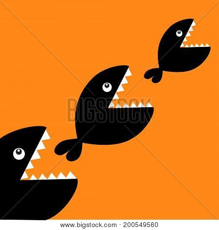 Fish monster eating each other. Three fishes. Food chain. Black color diagonal silhouette. Cute cartoon character set. Baby kids collection. Happy Halloween. Orange background. Flat design Vector