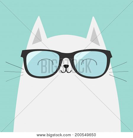 White cat wearing sunglasses eyeglasses. Smiling face. Blue lenses. Cute cartoon funny character. Adorable kitten in eyeglasses. Fashion animal. Baby background. Isolated. Flat design Vector