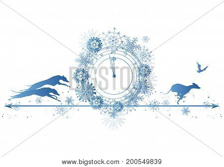 New Year border with dogs raven and clock in blue colors (EPS 10)