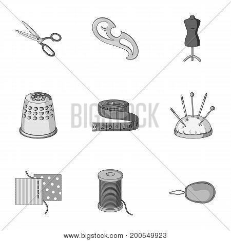 Machine, sewing, scissors and other sewing equipment. Medical, medicine set collection icons in monochrome style vector symbol stock illustration.