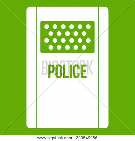Riot shield icon white isolated on green background. Vector illustration