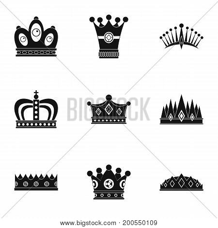 Nobility crown icon set. Simple set of 9 nobility crown vector icons for web isolated on white background