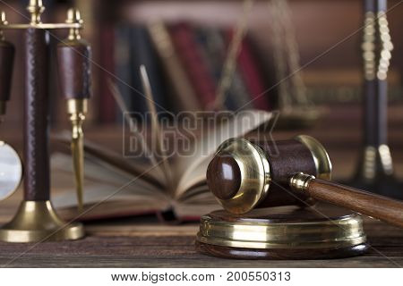 Lawer office. Law and justice concept. Gavel and scale on wooden table.