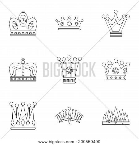 Antique crown icon set. Outline set of 9 antique crown vector icons for web isolated on white background