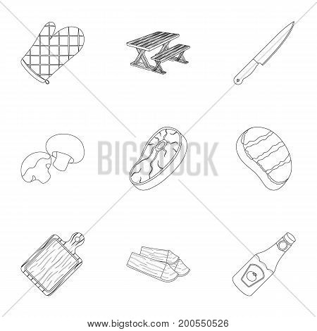 Meat, steak, firewood, grill, table and other accessories for barbecue.BBQ set collection icons in outline style vector symbol stock illustration .
