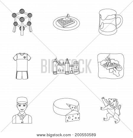National, flag, clothing and other Belgium attributes .Belgium set collection icons in outline style vector symbol stock illustration.
