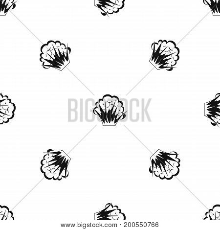Flame and smoke pattern repeat seamless in black color for any design. Vector geometric illustration