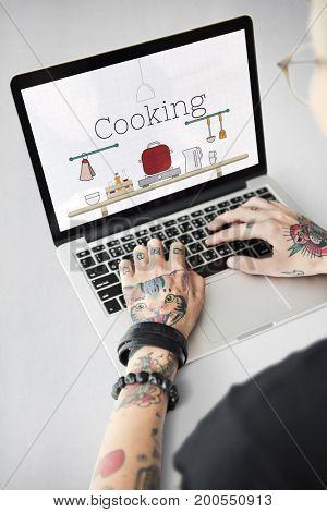 Illustration of food cooking kitchen utensil on laptop