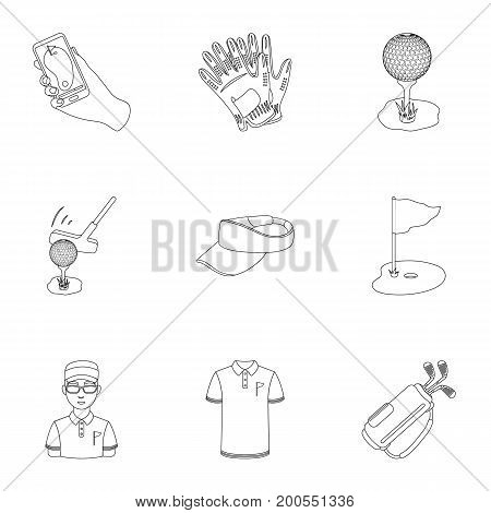 A golfer, a ball, a club and other golf attributes.Golf club set collection icons in outline style vector symbol stock illustration .