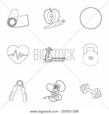 Jump rope, ball, scales other items for health.Gym And Workout set collection icons in outline style vector symbol stock illustration.
