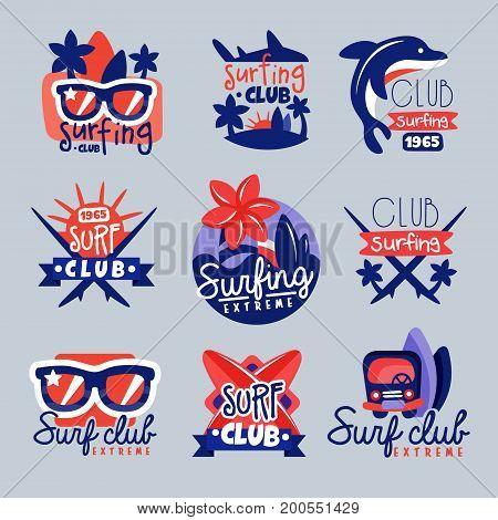 Surfing club logo templates set, surf club emblem, windsurfing badge collection vector Illustrations
