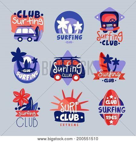 Surf club logo templates set, surfing club emblem, windsurfing badge collection vector Illustrations
