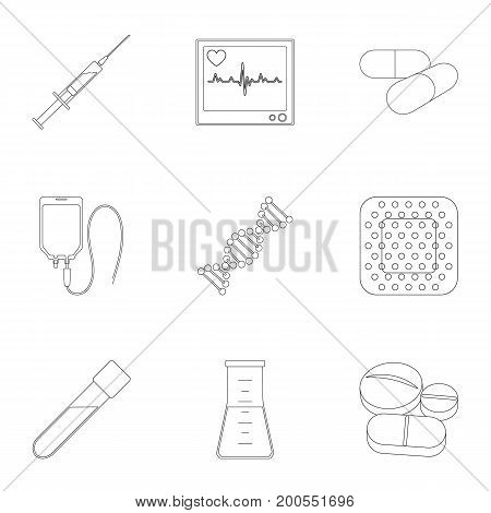 Donor, plaster, vaccine and other medical, medicine equipment. Medical, medicine set collection icons in outline style vector symbol stock illustration.