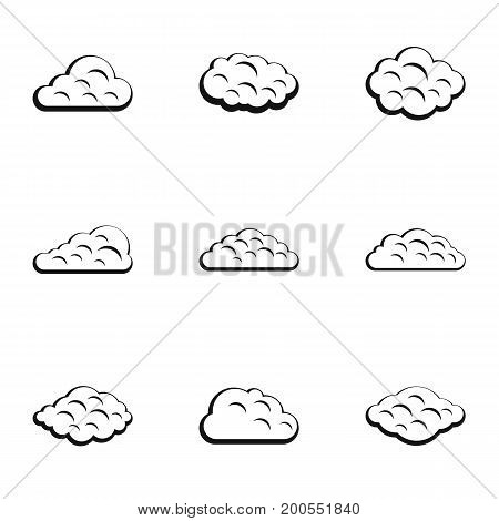 Tropical cloud icon set. Simple set of 9 tropical cloud vector icons for web isolated on white background