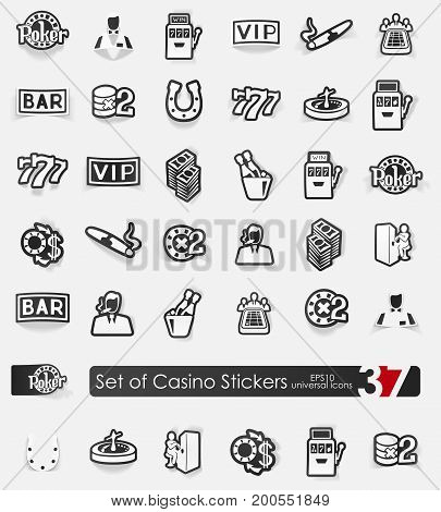 casino vector sticker icons with shadow. Paper cut