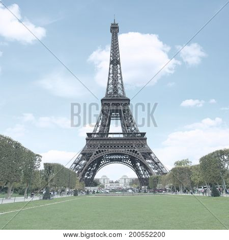 The Eiffel Tower in Paris. Toned image