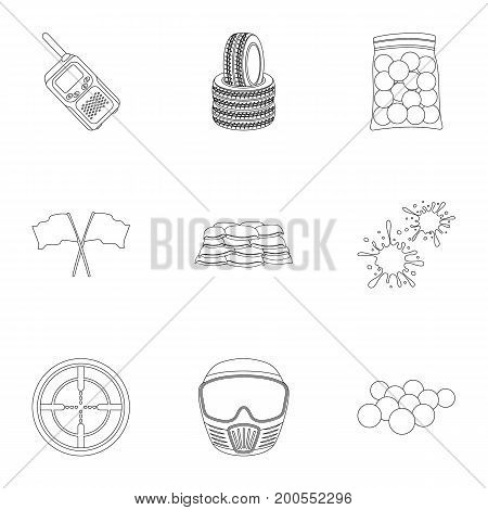 Marker for paintball, equipment, balls and other accessories for the game. Paintball single icon in outline style vector symbol stock illustration .