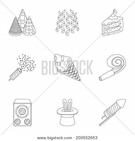 Champagne, firecrackers, cake items for the holiday.Party And Parties set collection icons in outline style vector symbol stock illustration .