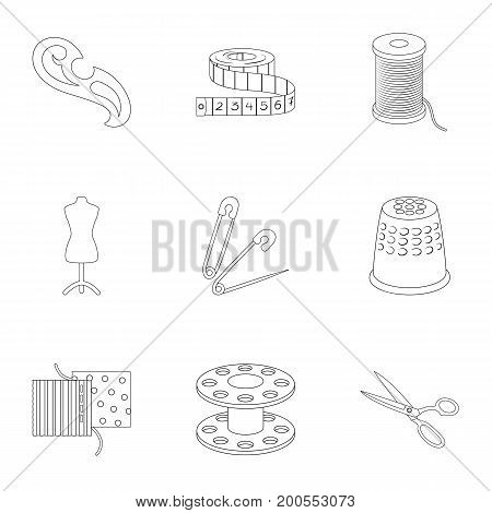 Machine, sewing, scissors and other sewing equipment. Medical, medicine set collection icons in outline style vector symbol stock illustration.