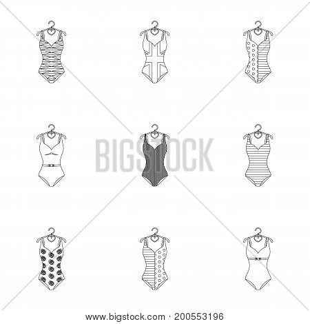 To relax on the beach, a pool of colorful swimsuits. Swimsuits set collection icons in outline style vector symbol stock illustration .