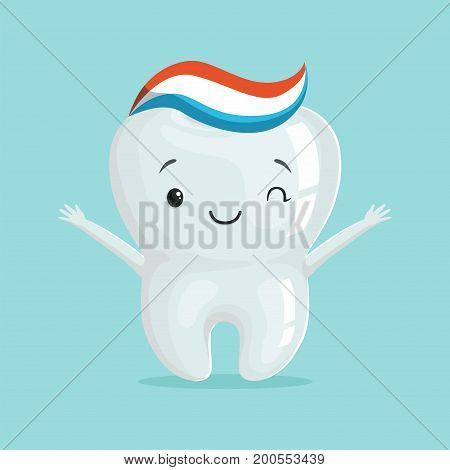 Cute healthy white cartoon tooth character with toothpaste, childrens dentistry concept vector Illustration on a light blue background